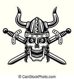 casque viking, crâne, épées, cornu, traversé