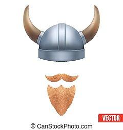 casque viking, symbole, cornu, barbe