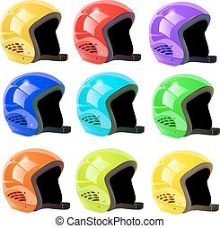 casques, blanc, ensemble, luge, fond