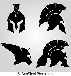 casques, ensemble, spartans
