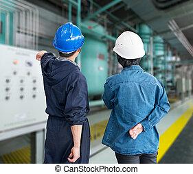casques, f, ouvriers, travail, construction, endroit, équipe