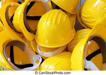 casques, groupe, industrie, -, jaune, construction, sécurité