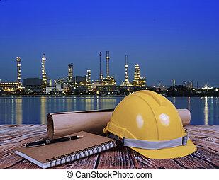 casques, huile, sur, brouillé, raffinerie, livre, sécurité, table nuit