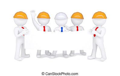 casques, peu, affiche, hommes, cinq, tenue, blanc, 3d