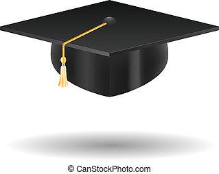 casquette, blanc, isolé, remise de diplomes