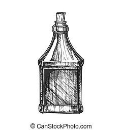 casquette, bouchon, vecteur, bouteille, vide, dessiné, écossais