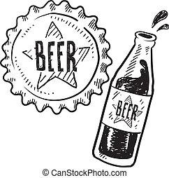 casquette, bouteille, bière, croquis
