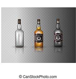 casquette, bouteille, isolé, cognac, vis, arrière-plan., verre, blanc