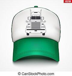 casquette, camion, trucker, étiquette