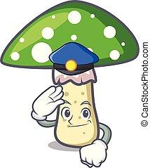 casquette champignon, caractère, boletus, orange, dessin animé