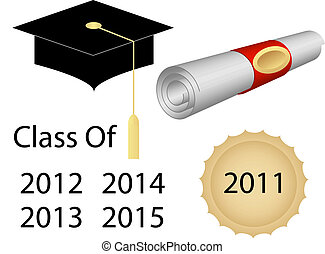 casquette, diplôme, remise de diplomes