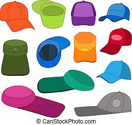 casquette, ensemble, coloré, gabarit