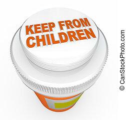 casquette, garder, avertissement, bouteille, médecine, child-proof, enfants