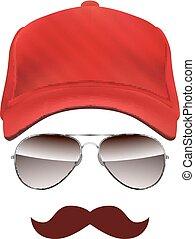 casquette, isolé, base-ball, fond, blanc, moustache, lunettes