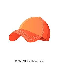 casquette, isolé, clair, base-ball, fond, orange, blanc
