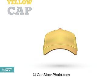 casquette, jaune, vecteur, base-ball, devant, vue., template.