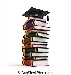 casquette, livre, remise de diplomes, pile
