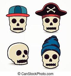 casquette, pirate., collection, crâne, dessin animé