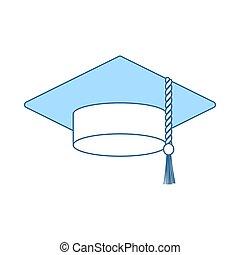 casquette, remise de diplomes, icône