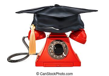 casquette, rendre, 3d, remise de diplomes, téléphone