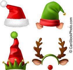 casquette, santa, renne, noël, ensemble, hats., headwear, rouges, claus, hiver, neige, rigolote, vacances, célébration, fourrure, réaliste, vecteur, hat., elfes, mignon