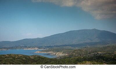 casquette, timelapse, de, méditerranéen, creus, côte, mer,...