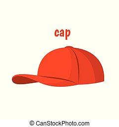 casquette, vecteur, rouges