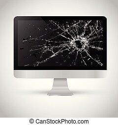 cassé, écran, informatique