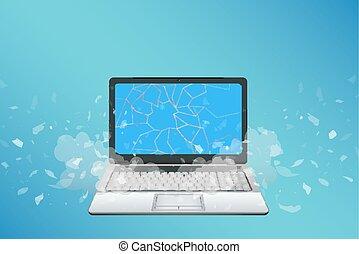 cassé, écran, ordinateur portable