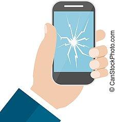 cassé, écran, possession main, téléphone