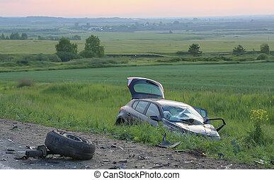 cassé, après, accident voiture