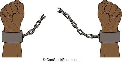 cassé, chaîne, mains