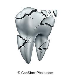 cassé, dent