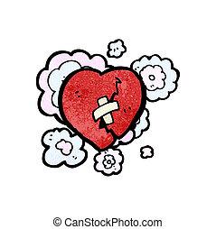 cassé, dessin animé, coeur