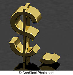 cassé, dollar, échec, inflation, économique, représenter, ou