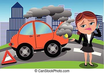 cassé, femme, frustré, voiture