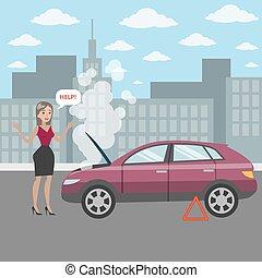 cassé, femme, voiture.