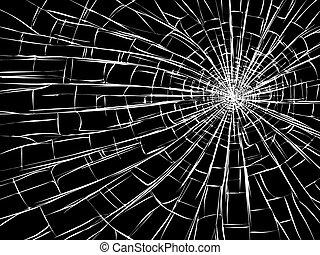 cassé, fissures, verre., radial