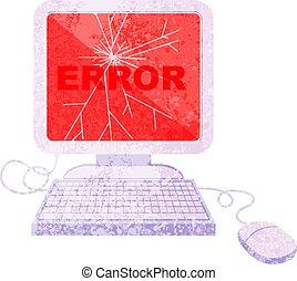 cassé, graphique, icône ordinateur