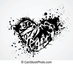 cassé, grunge, coeur