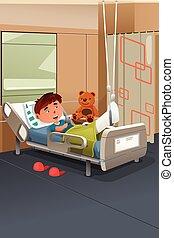 cassé, hôpital, gosse, jambe