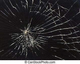 cassé, horizontal, arrière-plan noir, verre