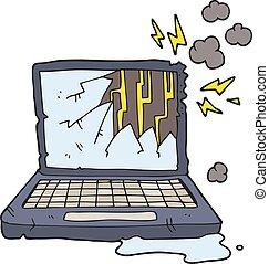 cassé, informatique, dessin animé
