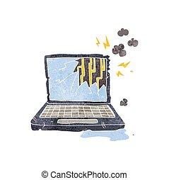 cassé, informatique, retro, dessin animé
