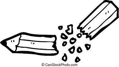 cassé net, crayon, dessin animé