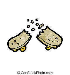 cassé net, skateboard, dessin animé