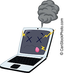cassé, ordinateur portable, dessin animé
