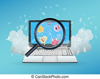 cassé, ordinateur portable, virus, trouvé