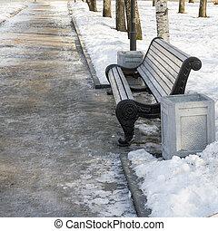 cassé, parc, hiver, banc