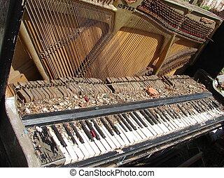cassé, piano, vieux, obsolète